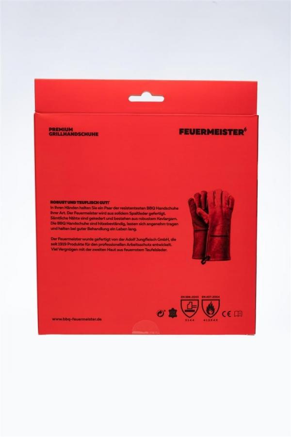 Feuermeister - Grillhandschuhe Leder Rot Gr. 8 (Paar)